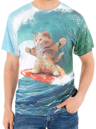 Men's Surf's Up Pizza Cat Sublimated Tee by Goodie Two Sleeves
