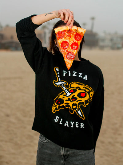 Women's Pizza Slayer Sweater by Pyknic