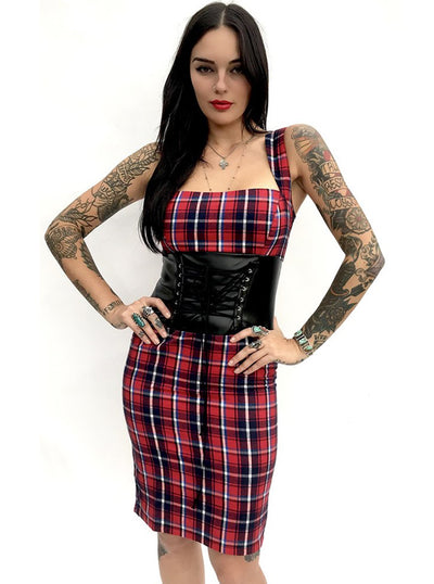 Women's Plaid Cincher Dress by Switchblade Stiletto