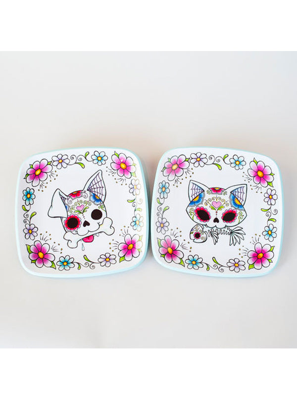 Sugar Skull Dog / Cat Plate Set