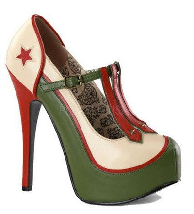 Military Themed T-Strap Pump by Bordello - InkedShop - 1