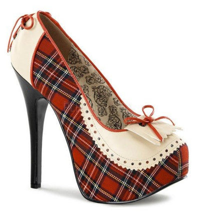 Cream Pumps - Red Plaid Fabric by Bordello - InkedShop - 2