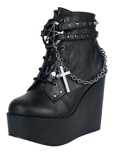 """Poison 101"" Vegan Leather Wedge by Demonia (Black)"