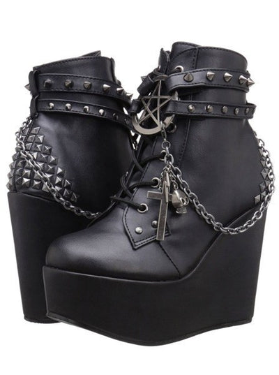 Poison 101 Vegan Leather Wedge by Demonia