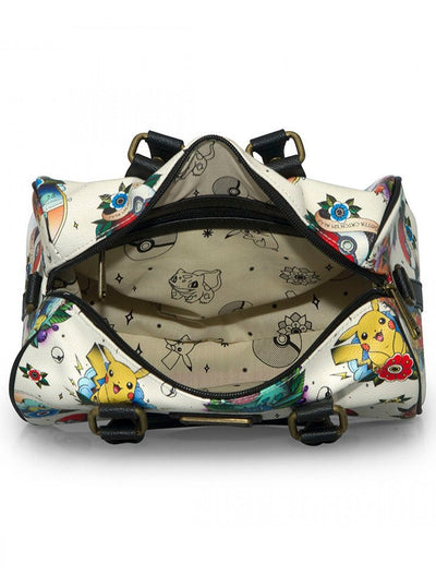 Pokémon Tattoo Flash Print Duffle Bag by Lounge Fly (Beige/Multi)