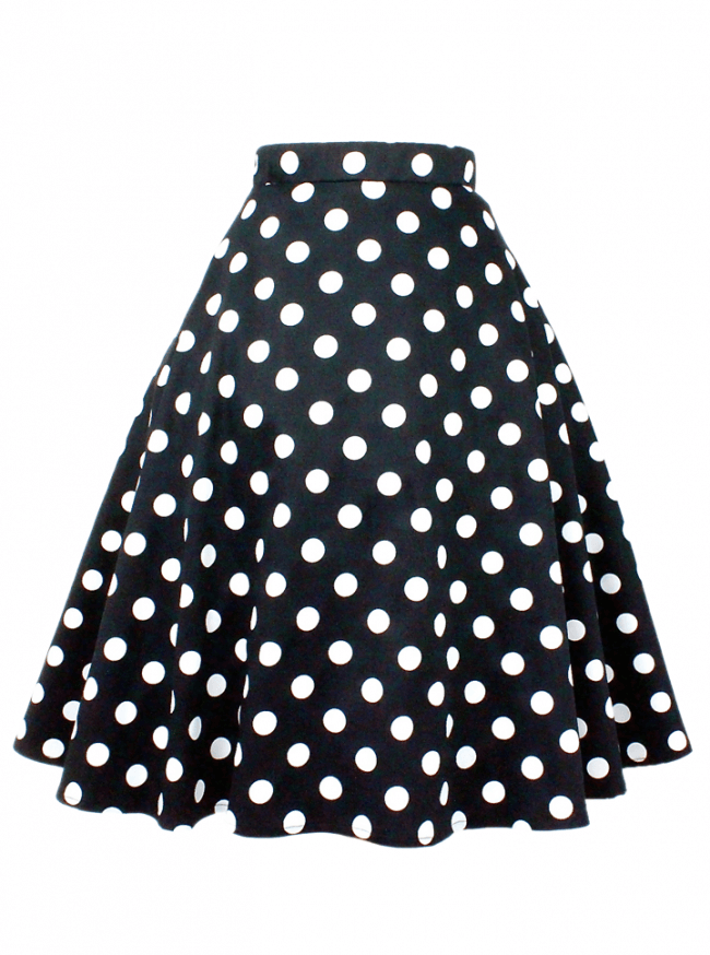"Women's ""Polka Dots"" Circle Skirt by Hemet (Black) - www.inkedshop.com"