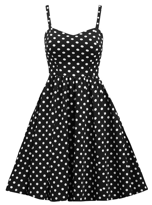 Women's Polka Dot Swing Dress by Double Trouble Apparel (Black/White)