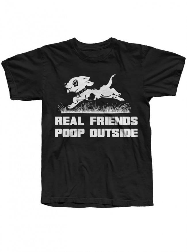 "Men's ""Real Friends Poop Outside"" Tee by The T-Shirt Whore (Black) - InkedShop - 1"