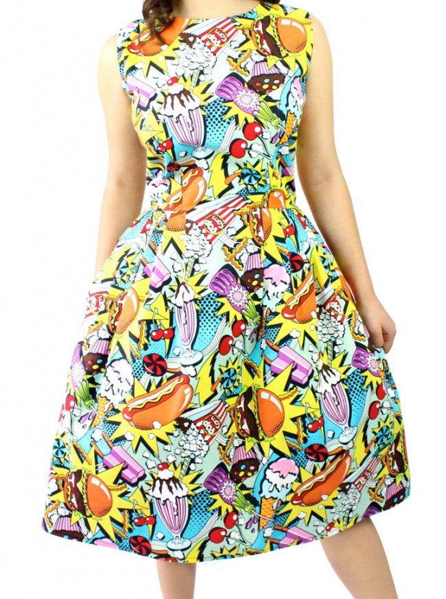 "Women's ""Pop Art"" Pleated Dress by Hemet (Multi) - www.inkedshop.com"