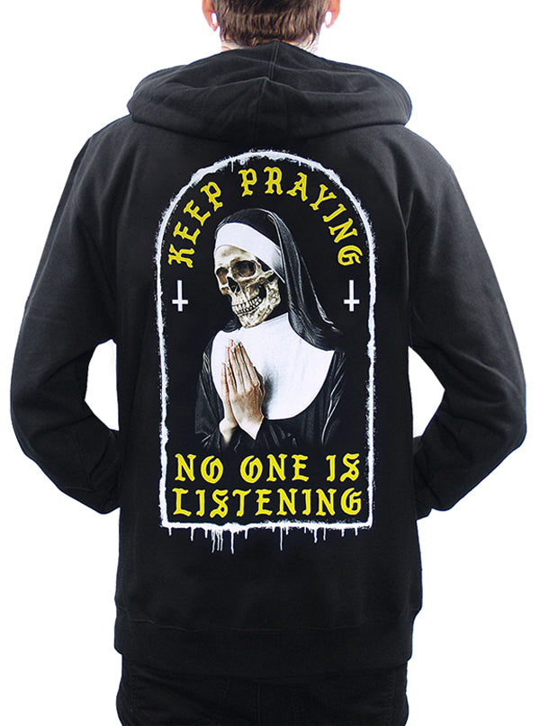 Men's Keep Praying Zip Hoodie by Skygraphx