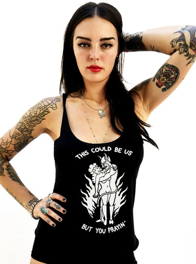 "Women's ""Praying"" Tank by Gypsy Treasures (Black)"
