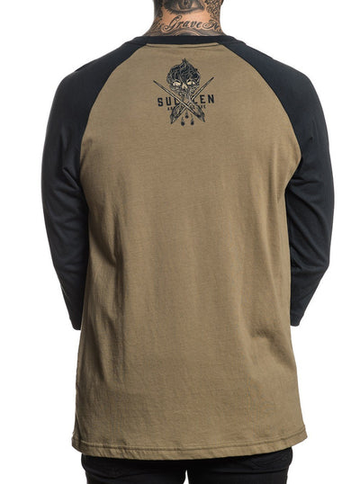 "Men's ""Price Badge"" Raglan Tee by Sullen (Olive/Black)"