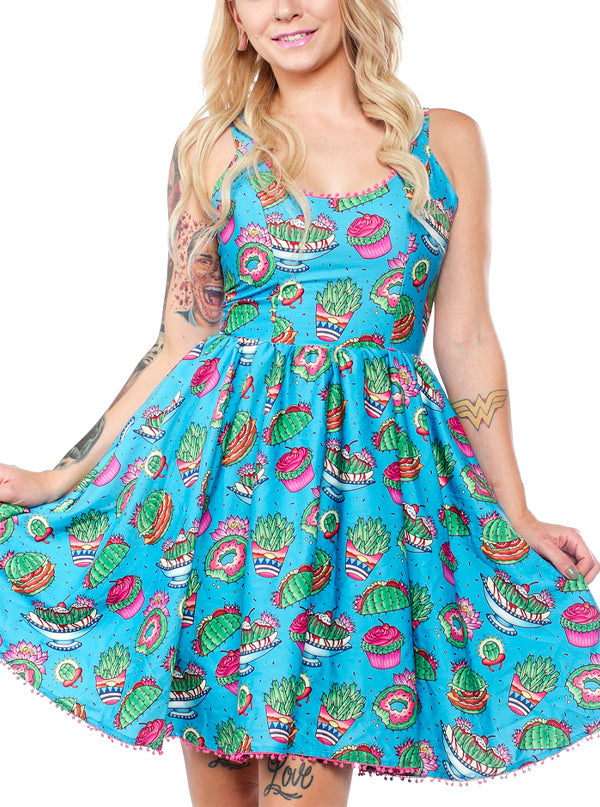 Women's Prickly Delights Sweets Dress by Sourpuss (Turquoise)