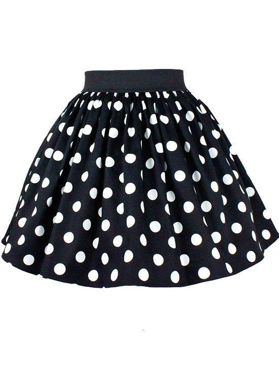 Women's Black Pleated Polkadots Skirt by Hemet (Black/White) - www.inkedshop.com