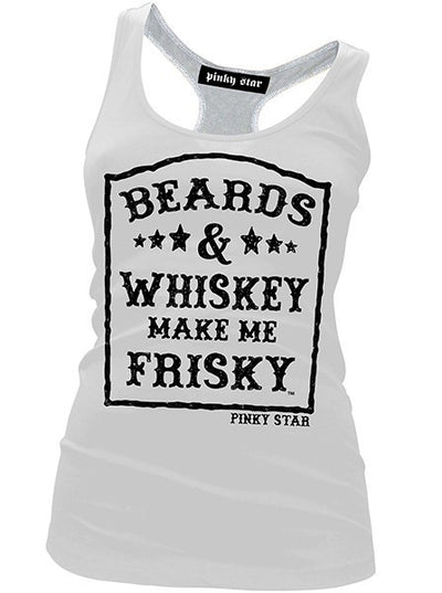 "Women's ""Beards & Whiskey"" Racerback Tank by Pinky Star (White) - www.inkedshop.com"