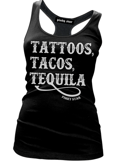 "Women's ""Tattoos, Tacos and Tequila"" Tank by Pinky Star (Black) - www.inkedshop.com"