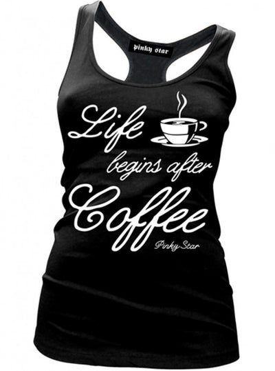 "Women's ""Life Begins After Coffee"" Tank by Pinky Star (Black) - www.inkedshop.com"