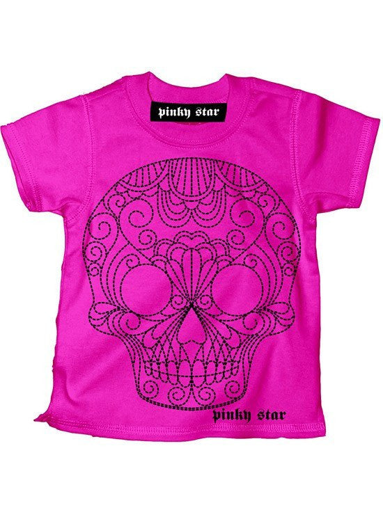 "Kid's ""Quilted Sugar Skull"" Tee By Pinky Star (Pink) - www.inkedshop.com"