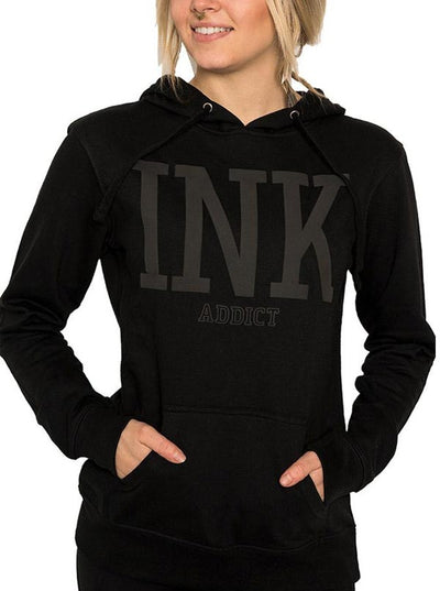 "Women's ""Ink College Puff"" Hoodie by InkAddict (Black Collection)"