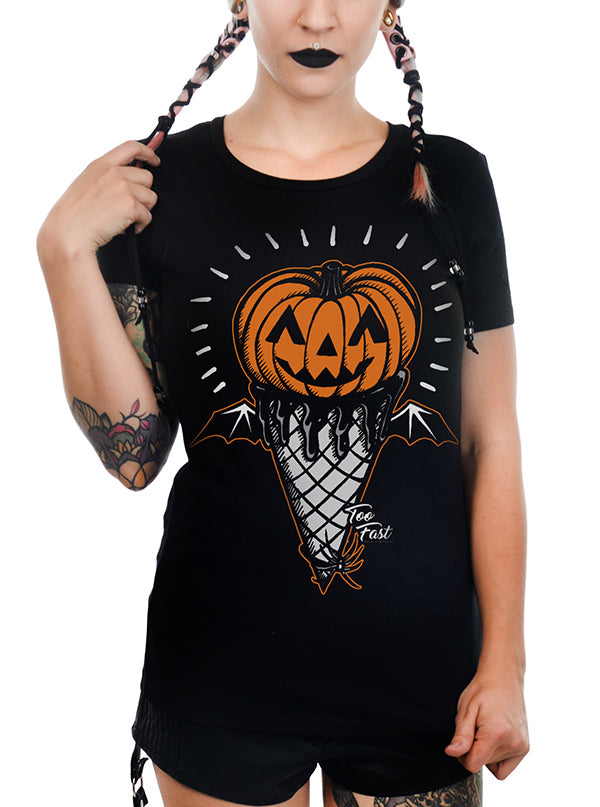 "Women's ""Halloween Pumpkin"" Babydoll Tee by Too Fast (Black)"