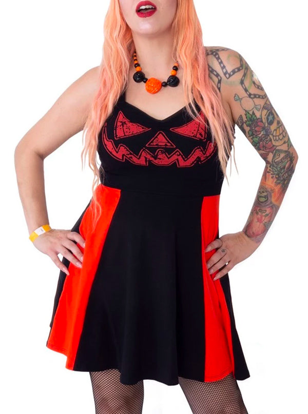 Women's Jack O Lantern Pinafore Dress by Kreepsville 666