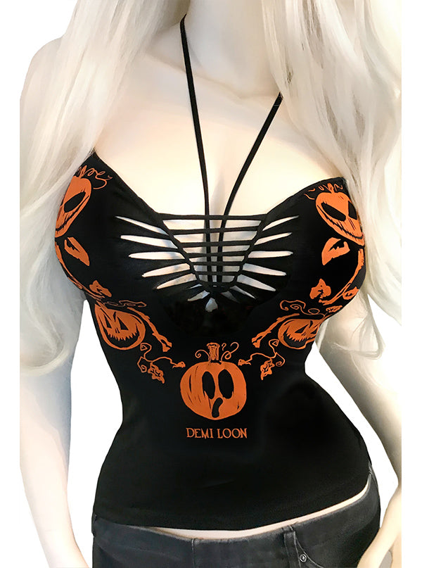 Women's Pumpkin Boo Rio Halter Top by Demi Loon