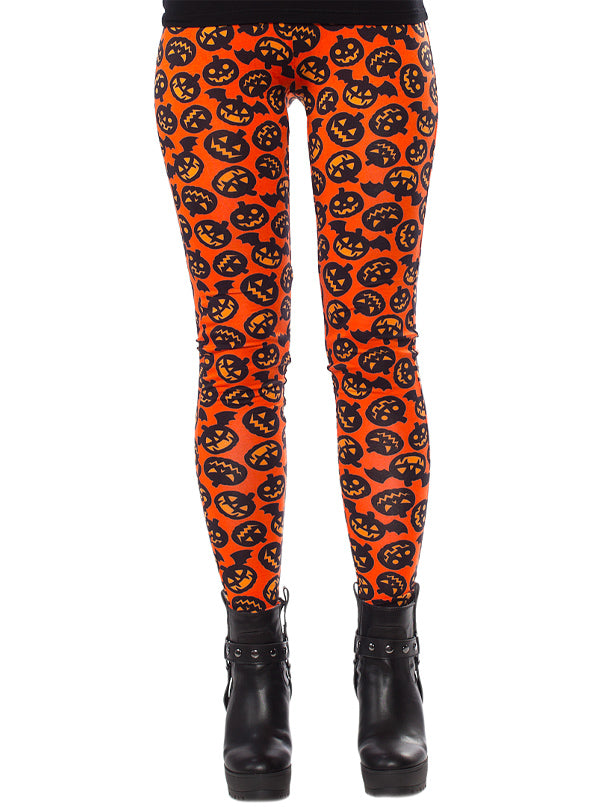 Women's Batty Pumpkins Leggings by Sourpuss
