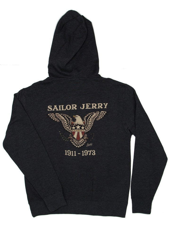 "Men's ""Pure Flight"" Zip-Up Hoodie by Sailor Jerry (Black) - www.inkedshop.com"