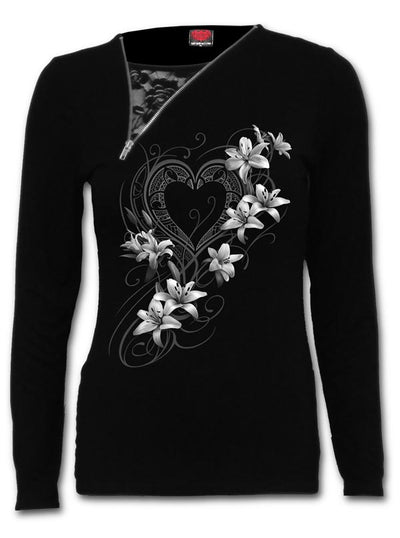 "Women's ""Pure of Heart"" Zipper Lace Top by Spiral USA (Black)"