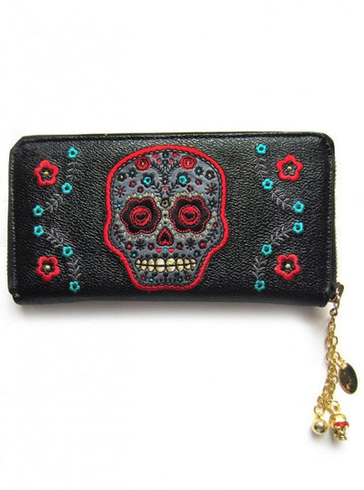 "Women's ""Purple Sugar Skull"" Wallet by Banned Apparel (Black) - www.inkedshop.com"