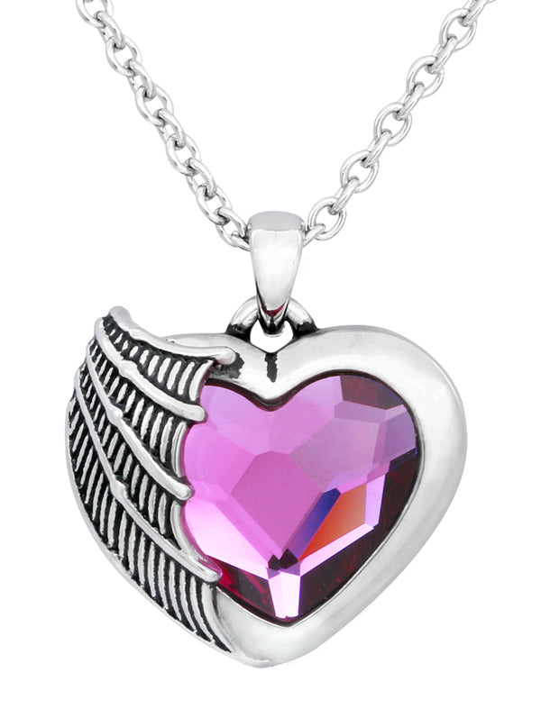 Purple Crystal Heart Necklace by Controse