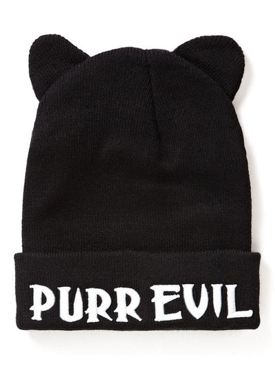 """Purr Evil"" Cat Ear Beanie by Killstar (Black) - www.inkedshop.com"