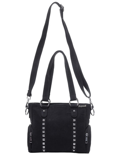 """Mini Leda"" Canvas Studded Purse by Sourpuss (Black) - www.inkedshop.com"