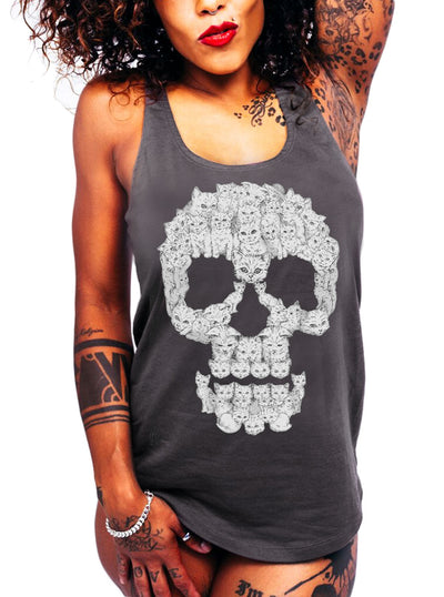 "Women's ""Skulls are for Pussies"" Tank by Harebrained! (Charcoal)"