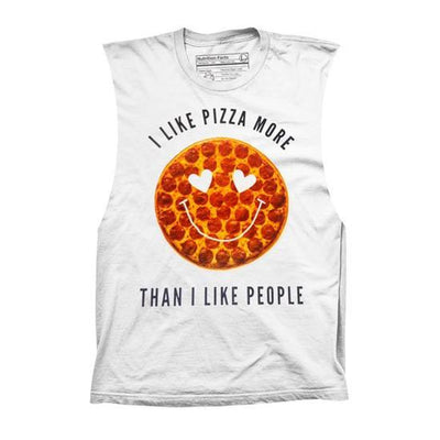 "Women's ""Pizza > People"" Muscle Tee by Pyknic (White) - www.inkedshop.com"
