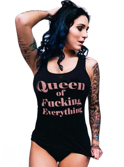 "Women's ""Queen Of Fucking Everything"" Tank by Dirty Shirty (Black)"