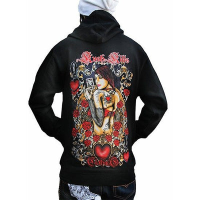 "Men's ""Queen of Hearts"" Zip Up by Kush Kills Clothing (Black) - www.inkedshop.com"