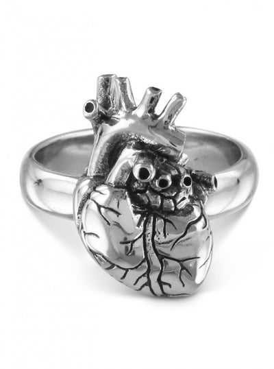 """Anatomical Heart"" Ring by Lost Apostle (Antique Silver) - InkedShop - 5"