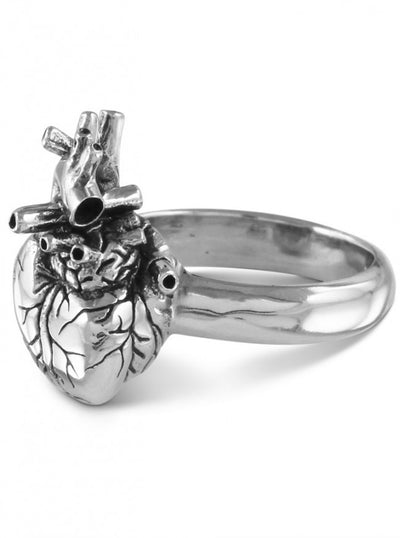 """Anatomical Heart"" Ring by Lost Apostle (Antique Silver) - InkedShop - 4"