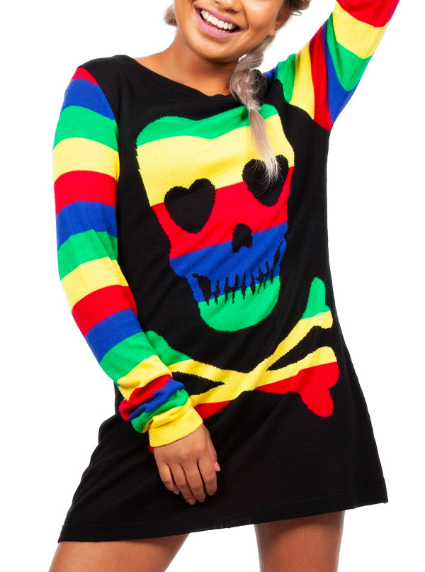 Women's Rainbow Skull Sweater by Jawbreaker