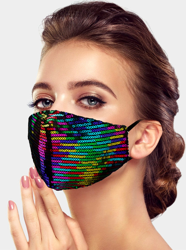 Rainbow Sequin Face Mask