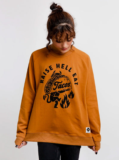 Unisex Raise Hell Eat Tacos Crewneck Sweatshirt by Pyknic