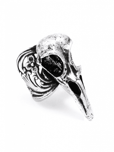 """Raven Skull"" Ring by Blue Bayer Design (Antique Silver) - InkedShop - 1"