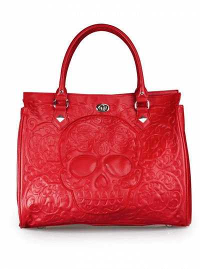 """Red on Red Skull Lattice"" Tote Handbag by Loungefly (Red) - www.inkedshop.com"