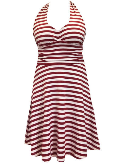 Women's Striped Marilyn Dress by Switchblade Stiletto (Red/White)