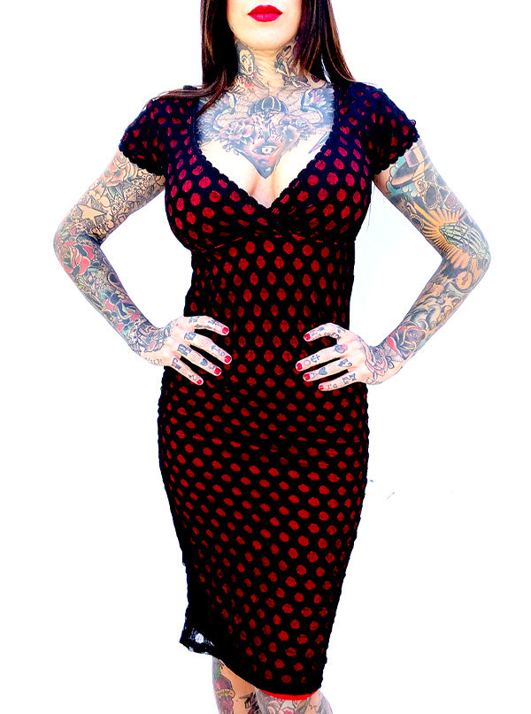 "Women's ""Dot Lace"" Anabella Dress by Switchblade Stiletto (Red)"