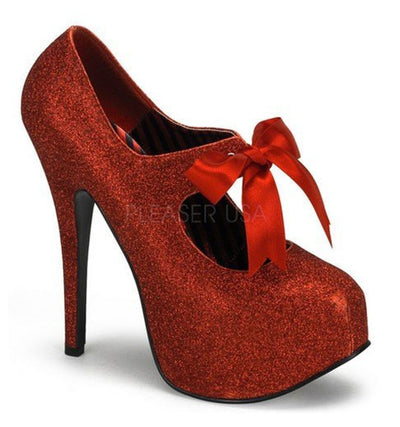 Red Glitter Platform Heel with Ribbon Tie by Bordello - InkedShop - 1