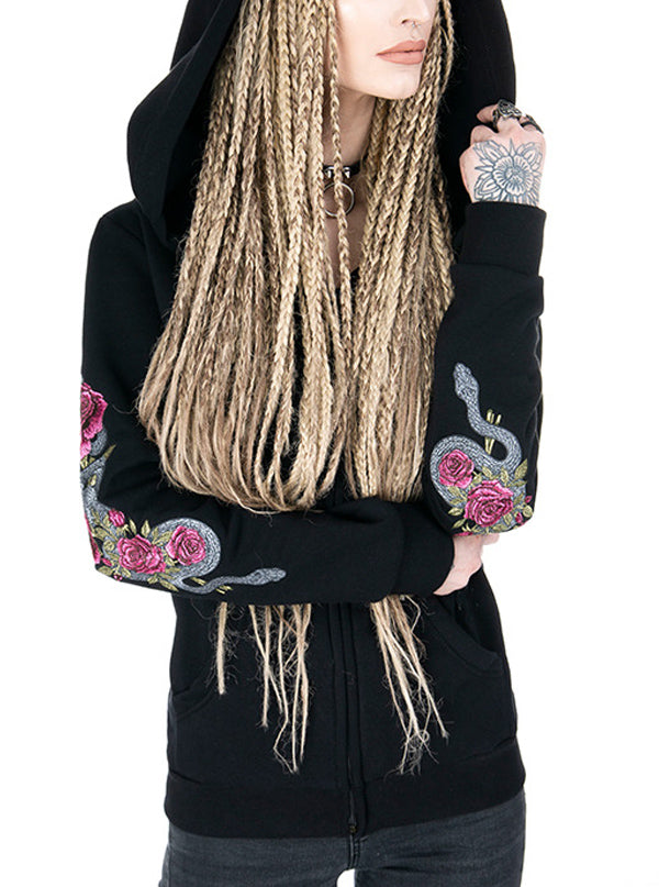 "Women's ""Temptation"" Embroidered Hoodie by Restyle (Black)"