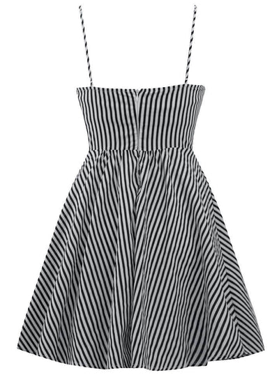 "Women's ""Retro Doll"" Striped Dress by Double Trouble Apparel (Black/White) - www.inkedshop.com"