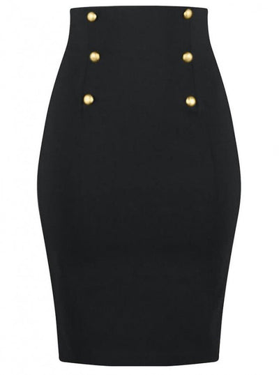 "Women's ""High Waist"" Pencil Skirt by Double Trouble Apparel (Black) - www.inkedshop.com"